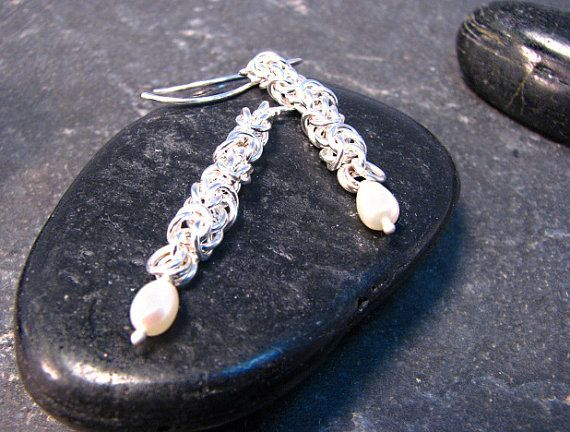 Silver Chain and Fresh Water Pearl Earrings by melmacdesigns, $44.00