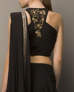 racer back style blouse in black | stark black blouse | golden detailed needlework | super chick blouse styles | Every Indian bride's Fav. Wedding E-magazine to read. WittyVows shares things no one tells brides, covers real weddings, ideas, trends and the right vendors, photographers etc. | Curated by #WittyVows - www.wittyvows.com