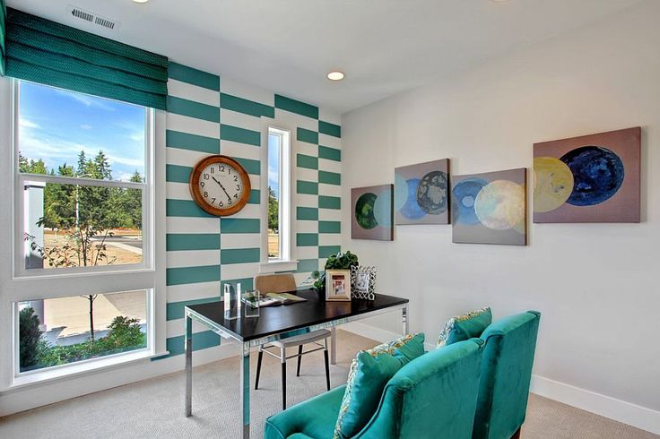 Fascinating use of turquoise stripes in the transitional home office 10 Home Office Accent Wall Ideas That Unleash the Magic of Stripes