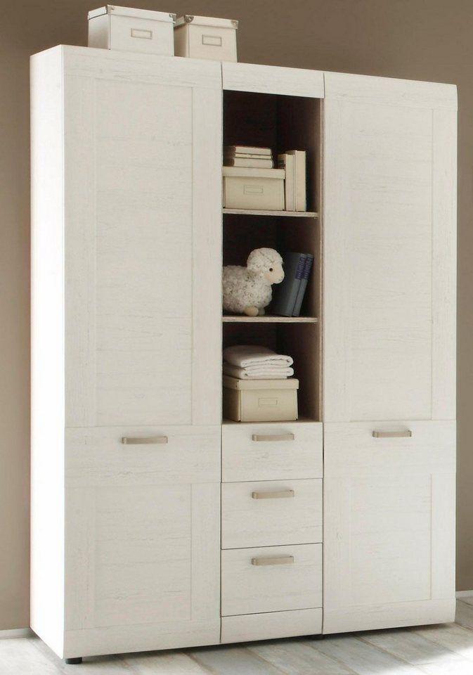 Kleiderschrank passend zur Babymöbel Serie »Landhaus« in pinie NB/weiß für 579,00€. Kinderkleiderschrank Landhaus, Großzügige Stauraummöglichkeiten bei OTTO