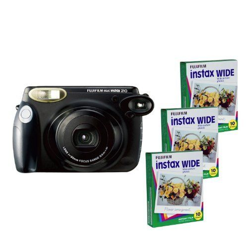 Fujifilm INSTAX 210 Instant Photo Camera Kit and 3 Fujifilm Instax Wide Film with 10 Exposures FU64-IN210K30