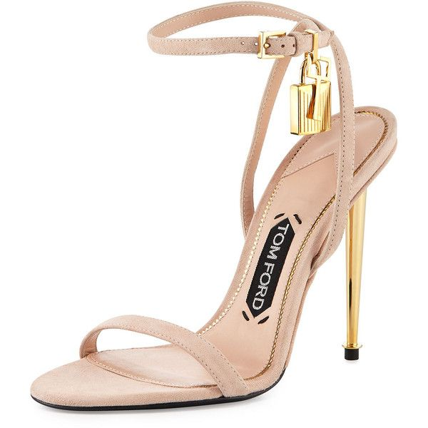 TOM FORD Lock Ankle-Wrap Suede 110mm Sandal ($990) ❤ liked on Polyvore featuring shoes, sandals, nude, nude shoes, tom ford shoes, ankle strap sandals, ankle wrap sandals and nude high heel sandals