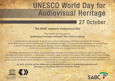 UNESCO World Day for Audiovisual Heritage 27 October 2012 - SABC Media Libraries focus on Springbok Radio