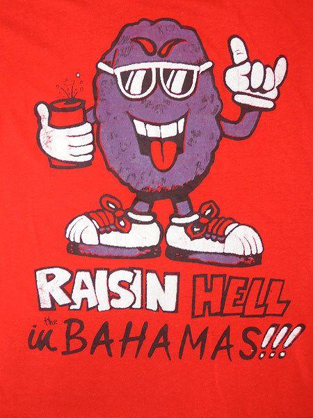 レディースTシャツ古着1980年代悪乗りレーズン君キャラクタープリント半袖Tシャツ赤【中古】