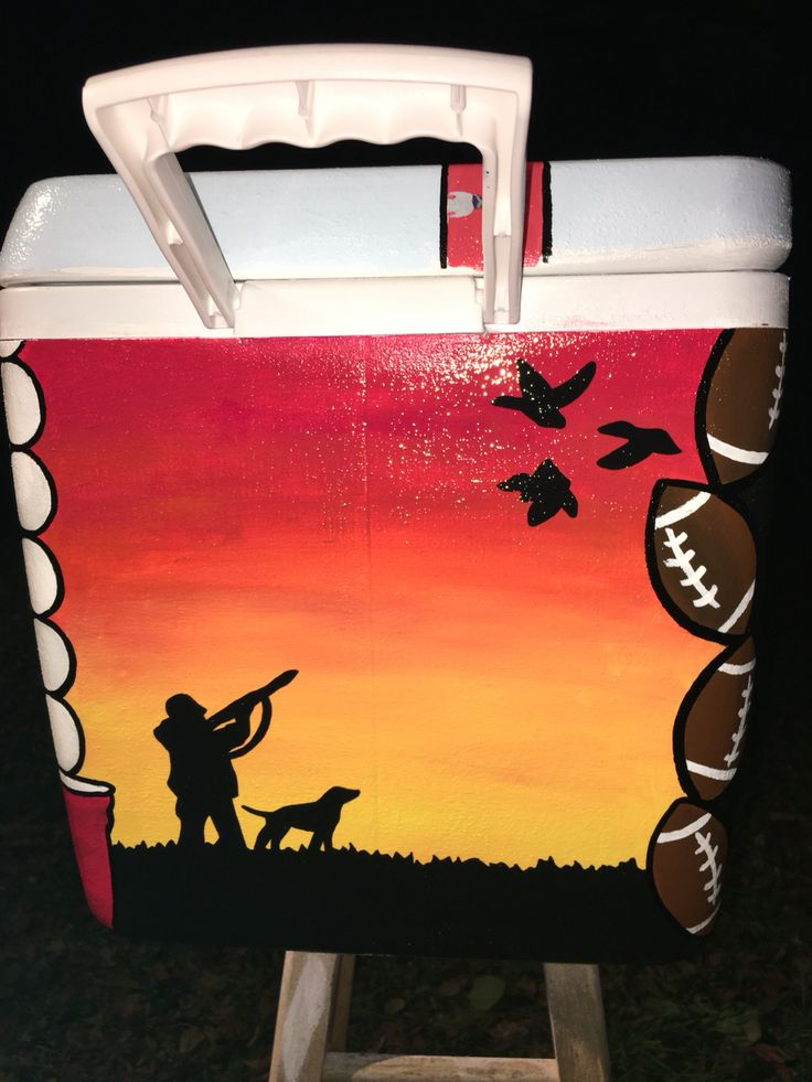 Duck shooting and sunset painted cooler