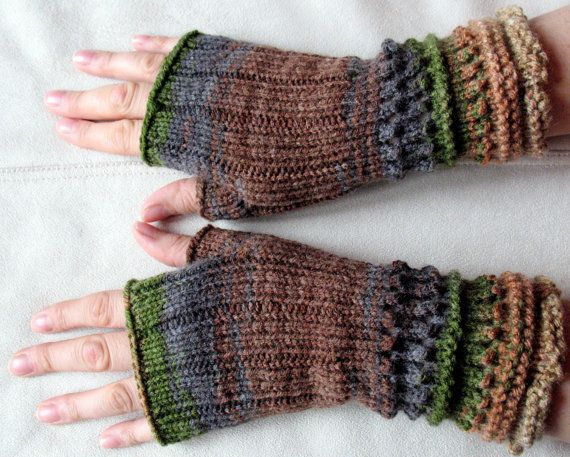 NEW YEAR SALE Knit  Fingerless Gloves Brown Beige by Initasworks, $37.80