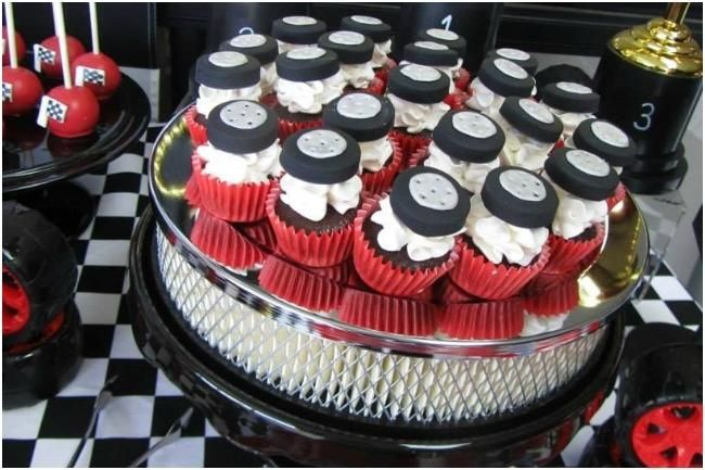 Cupcakes for Race Car Themed Birthday Party