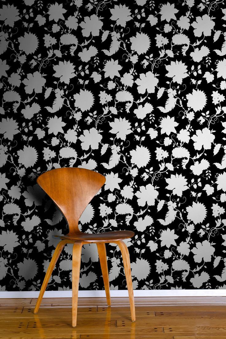 Floral Toile Removable Wall Decal - Black