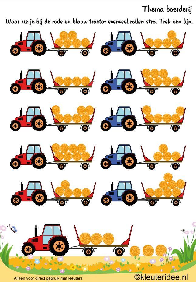 Waar zie je bij de rode en blauwe tractor evenveel rollen stro? Trek een lijn [kleuteridee.nl]
