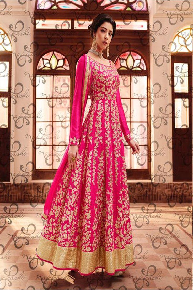 Bright Pink Designer Anarkali Suit With Matching Chiffon Dupatta