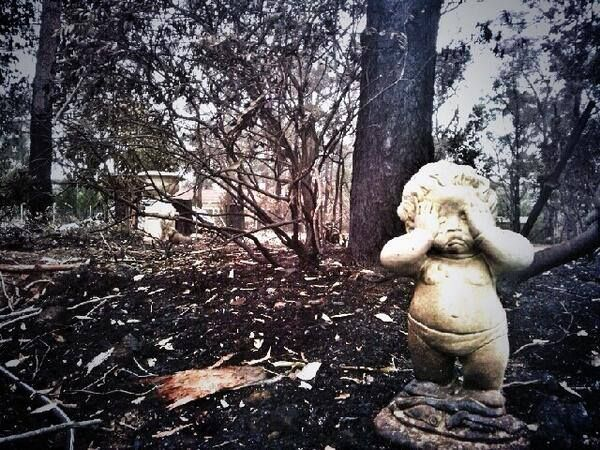 22/10/13 ~ This statue says it all, without saying a word. However, here is the notice posted on Facebook by the NSW RFS for tomorrow...........Main points from the 4:05 briefing - * Despite the very best efforts of firefighters and the community, and despite our best hopes, the forecast for tomorrow is about as bad as it gets.  * There are no mass evacuations but if you don't need to be in the fire affected areas, don't be there.  * Do not leave your decisions to the last minute. (cont'd…