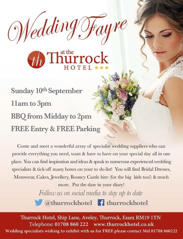 WEDDING FAYRE at the Thurrock Hotel  When? Sunday 10th September Time? 11am until 3pm FREE entry & parking BBQ from 12pm until 2pm  Get inspiration & ideas to make your dream come true on your wedding day. Bring along your checklist so you can get those boxes ticked off!  We look forward to seeing you!