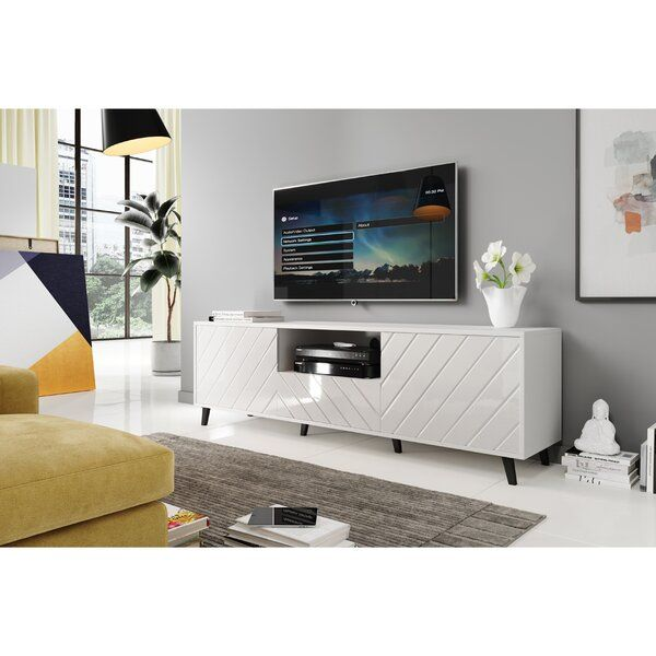Amaya Tv Stand For Tvs Up To 78 In 2021 Tv Stand White Tv Cabinet Living Room Storage