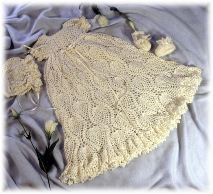 Crochet Pattern for Baby .....Christening Gown, Bonnet and ...