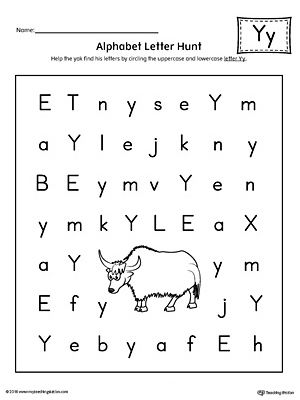 alphabet letter hunt letter y worksheet letter y worksheets. Black Bedroom Furniture Sets. Home Design Ideas