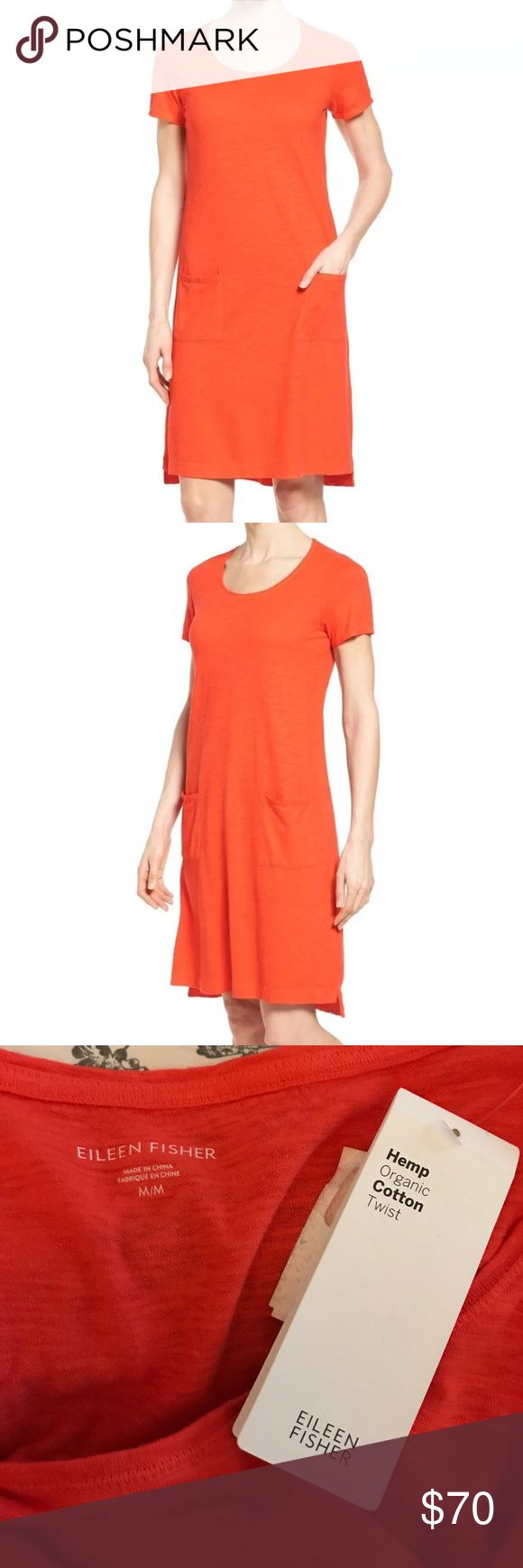 "NWT Eileen Fisher hemp organic cotton twist dress This is the ""Scoopneck Short Dress"". Cut loose for comfort, this trending t-shirt dress from Eileen Fisher Petites comes in an essential orange solid. Two front patch pockets and T-shirt styling define the laid back ease of a short, figure skimming shift cut from a slub-knit blend of hemp and cotton. Slips on over head. Scooped neck. Short sleeves. Vented step hem. A-line silhouette. Designed for an easy, classic fit. Unlined. Approximately…"