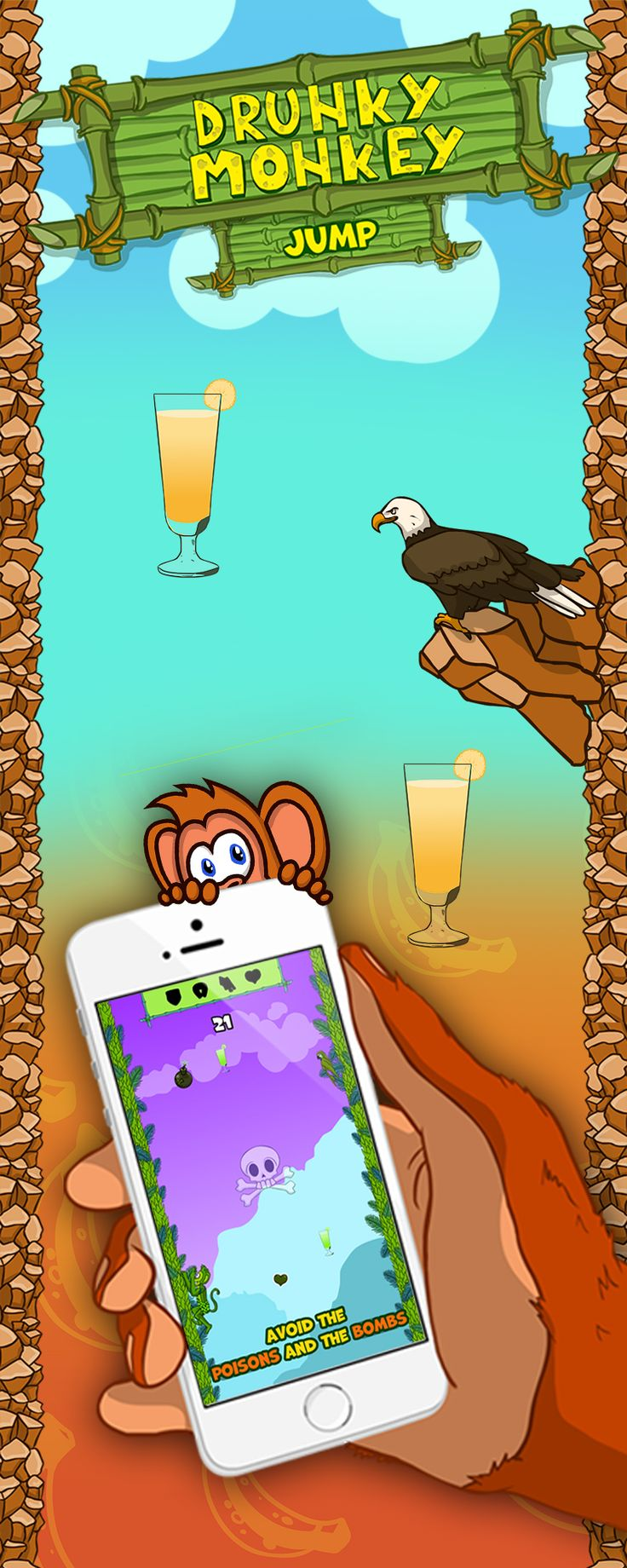 Drunky Monkey Jump introduced a lot of new power ups, which can make your game easier. But be careful, because there are danger ahed the road! :)