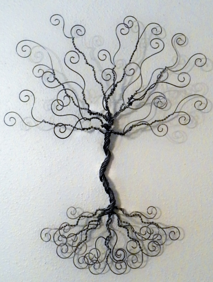 Jewelry tree wire wall mount great idea