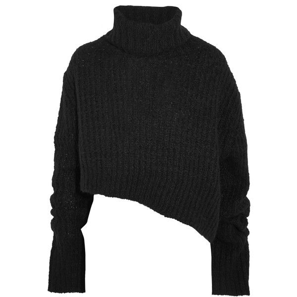 Ann Demeulemeester Asymmetric chunky-knit turtleneck sweater ($555) ❤ liked on Polyvore featuring tops, sweaters, black, ann demeulemeester sweater, one sleeve sweater, chunky knit turtleneck, one shoulder tops and turtle neck top