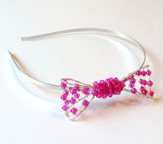 Side Bow Headband, Hot Pink