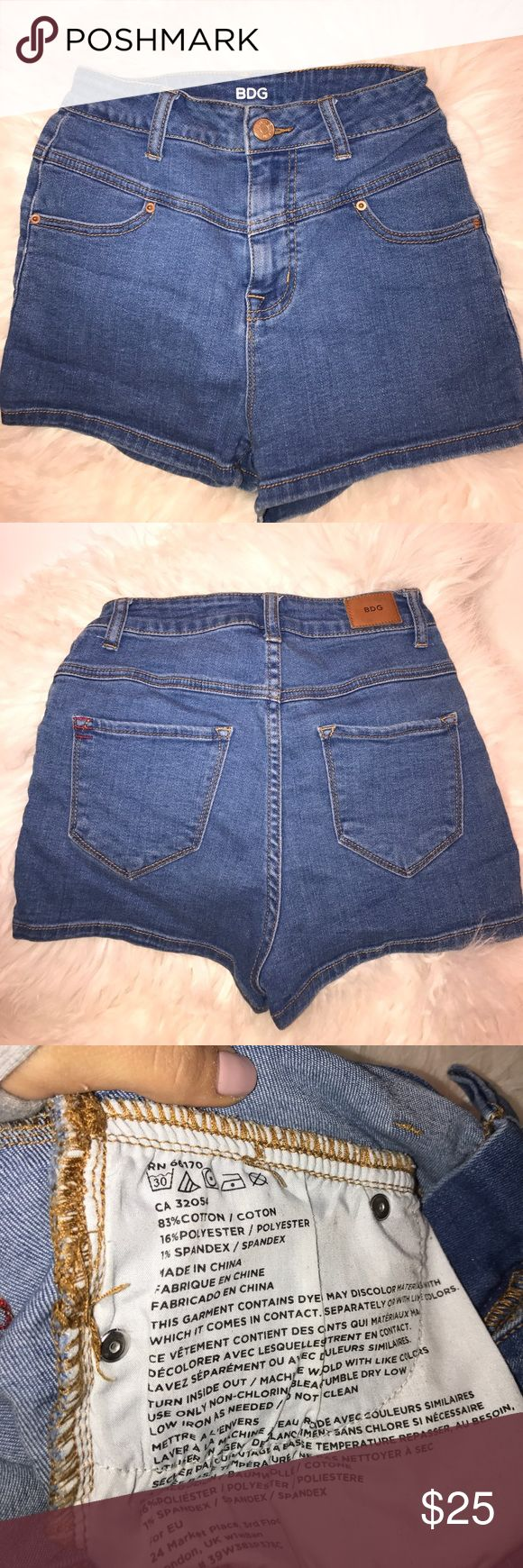 "Urban Outfitters Shorts by BDG ""Super Highrise"" Vintage inspired Shorts • High Wasted • Light Wash • Super Stretchy• Like New BDG Shorts Jean Shorts"