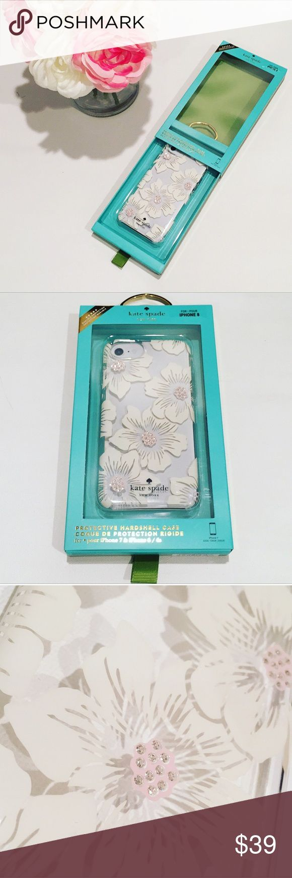 NWTs Kate Spade IPhone 6/6s/7/8 Case Protect your phone and add a pop of pretty with this kate spade new york hardshell case. The solid construction keeps your phone safe from accidental drops, while convenient cutouts let you easily access functions. A little bit of bling on this floral kate spade new york hardshell case makes it fashionable as well as functional. No trades  Firm unless Bundled with seller discount kate spade Accessories Phone Cases