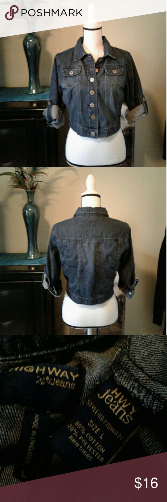 "Crop Jean jacket Women's like new Highway Jeans dark wash crop jean jacket with button roll cuffs size Large. 2 button flap breast pockets and 2 side pockets.  Measurements Chest 19"" length 17"" sleeve 18"" unrolled. Thanks for looking Bundle to save!! Highway Jeans Jackets & Coats Jean Jackets"