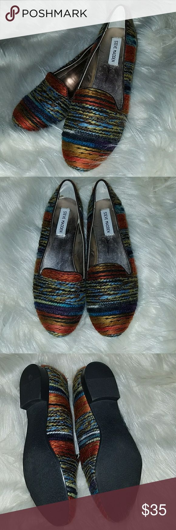 Steve Madden Multi-colored Flats Oh, these had great plans.  They resemble yarn, so I wanted to wear them to the next party for the shop I managed.  Well,  I got a new job, so no yarn party. These poor babies sat in the closet, never worn. Steve Madden Shoes Flats & Loafers