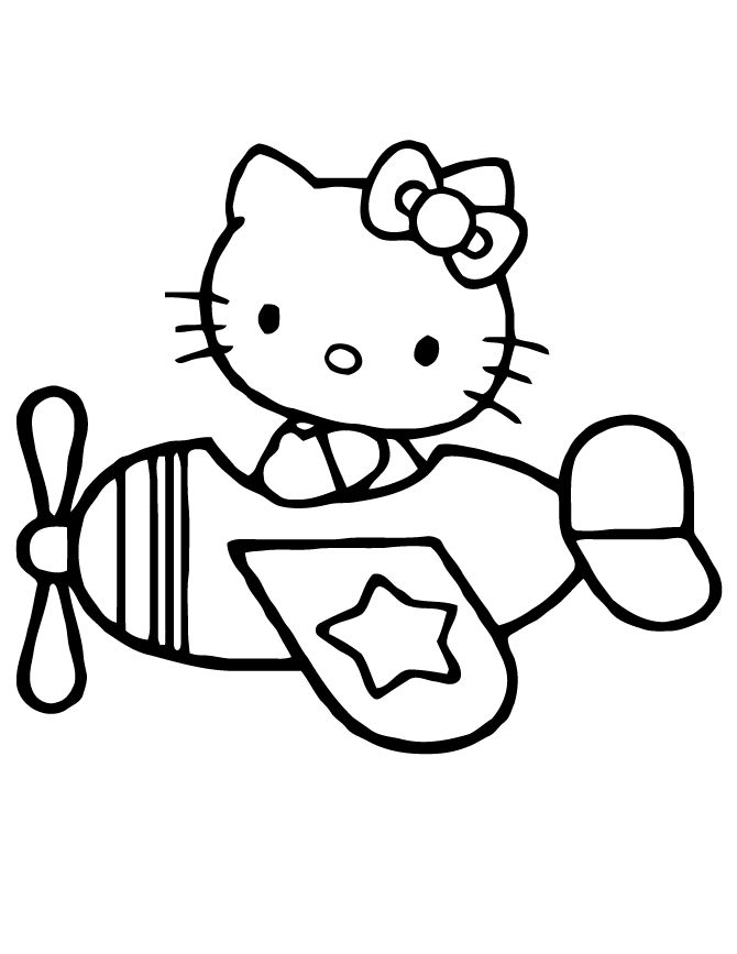 Hello Kitty Flying Airplane Coloring Page | Free Printable