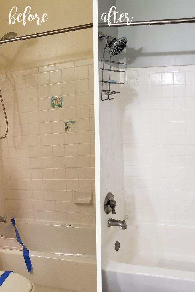 Nachgearbeitet Waschbecken Und Dusche Badewanne Mit Rust Oleum Nachbearbeiten Kit In 2020 Diy Bathroom Makeover Small Bathroom Makeover Bathtub Makeover