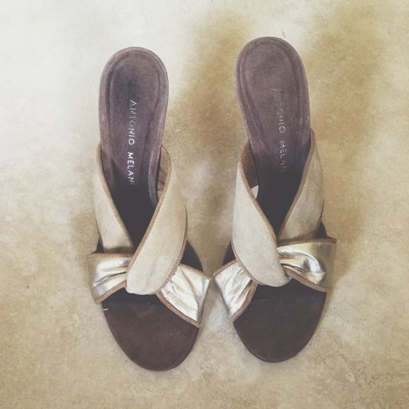 Antonio Melani slip on heels Never worn. Suede material. Gold, tan, and brown. Cute summer slip on heels you can wear during the day out to lunch with your girlfriends. no trades or paypal *excluded from sale* Antonio Melani Shoes Heels