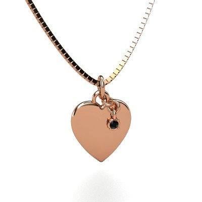 Round Black Diamond 14K Rose Gold Necklace...I don't usually like heart shaped jewelry or even Rose Gold. But I really like this :)