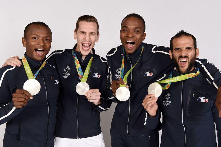 Fleuret par équipes messieurs, E. Lefort, J. Cadot, J.P Tony Helissey et E.Le Pechoux médaille d' argent aux JO de Rio 2016