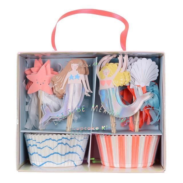 Decorate your party cupcakes with this delightful mermaid cupcake kit With patterned bake cases and toppers including two mermaids with shimmering