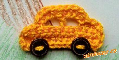 Háčkované autíčko auto aplikace