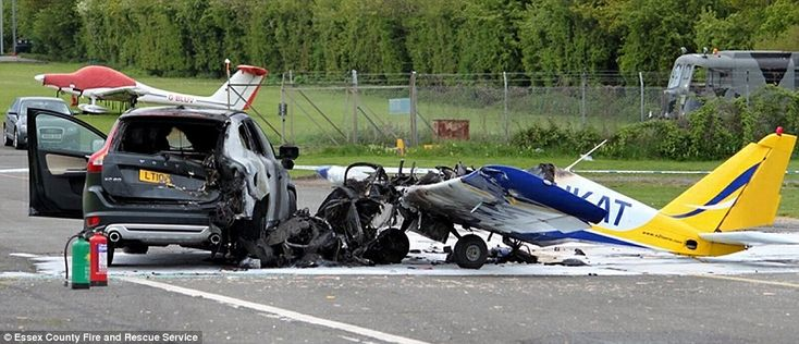 A single engine AT3 aircraft struck this Volvo X60 at North Weald Airfield in Essex, yesterday afternoon. The occupants of the car escaped without a scratch and helped pull the plane pilot to safety seconds before a fierce fire