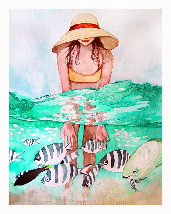 I painted a girl in her big floppy hat and cute bathing suit on. She is wading in the water playing the tropical fish. A print of an original watercolor in blue, turquoise, black, yellow, and orange.   This is a Chromogenic Photographic Print. It was professionally printed using archival inks and Kodak Professional Endura paper with a lustre finish; will not include watermark   Frame and matting not included.  Copyright retained by artist, Heatherlee Chan, Lady Poppins.  If youd prefer a…