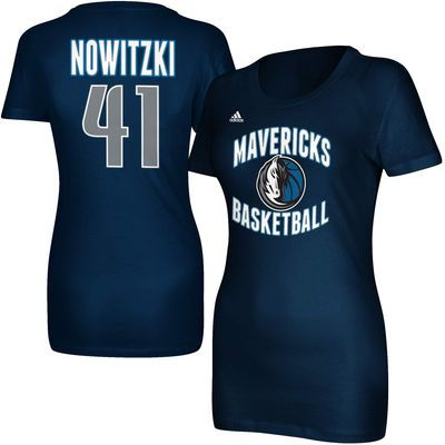 adidas Dirk Nowitzki Dallas Mavericks Women's Navy Blue Name and Number T- shirt S