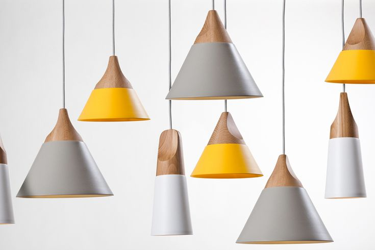 Slope pendant lights by skrivo + miniforms, Influenced by the shapes of mountains. Metal and beech.
