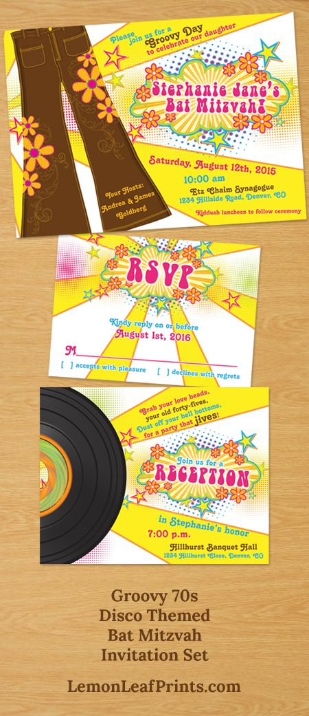 Groovy 1970s or 70s disco themed Bat Mitzvah invitation ...