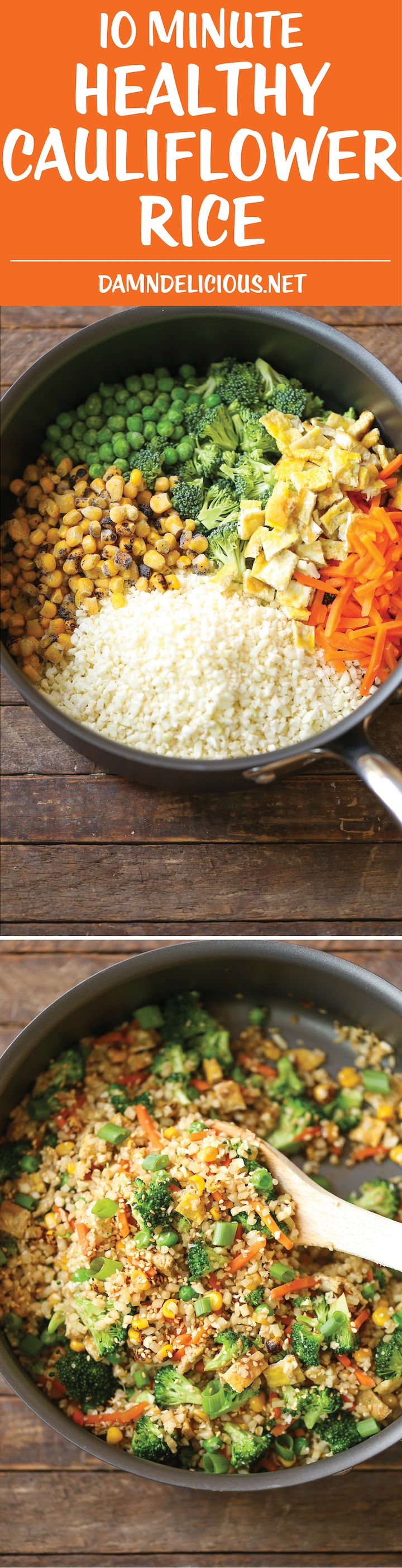 10 Minute Healthy Cauliflower Rice - An amazingly healthy twist on takeout fried rice but you can't even tell the difference. So EASY to make too!
