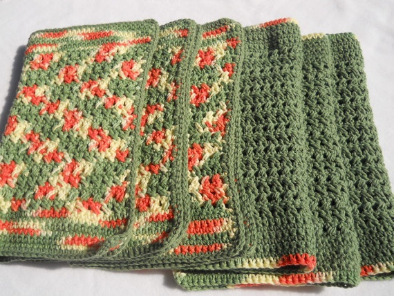 Crochet Placemats : Crocheted Cotton Placemats in Citrus Crochet Pinterest