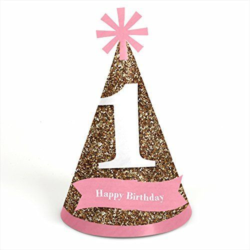 Fun to be One – 1st Birthday Girl – Cone Birthday Party Hats – 8 Count