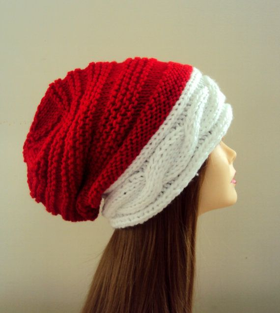Knitting Pattern Christmas Hat : Slouchy Beanie Christmas Hat Santa Hat Knit Winter Hat Baggy Hat Men Women Cl...