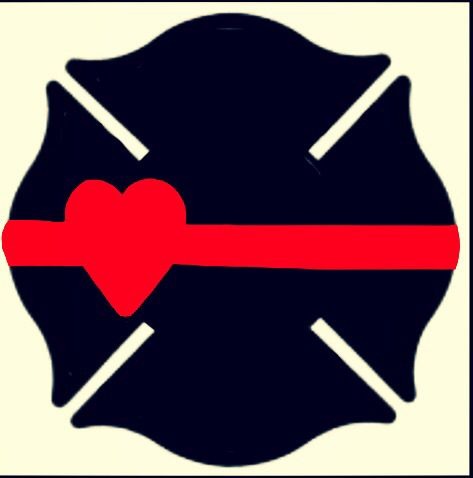 Maltese cross heart thin red line