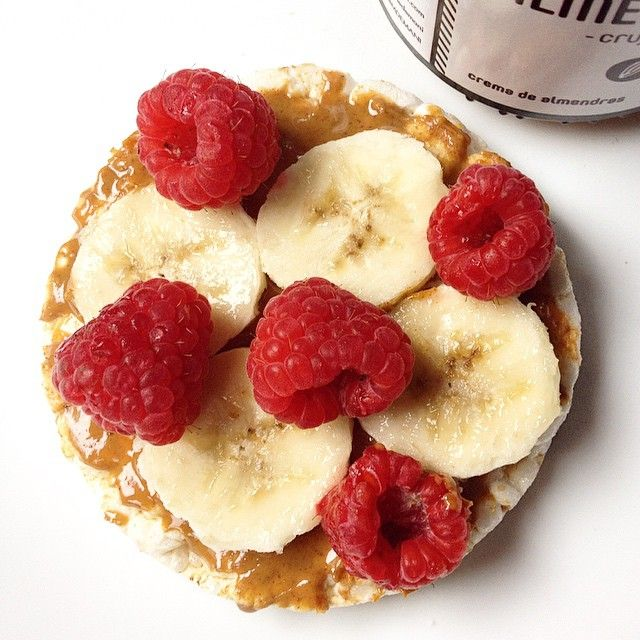 Rice Cakes Pb Banana Raspberries Cake Creationsrice Cakesclean Eating