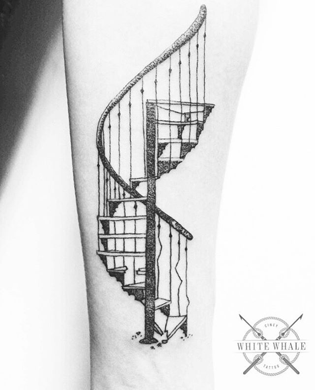 """""""Life is intrinsically, well, boring and dangerous at the same time. At any given moment the floor may open up. Of course, it almost never does; that's what makes it so boring."""" -Edward Gorey  Tattoo by @jgracetattoo  #tattoo #tattoos #stairs #staircase #spiralstaircase #darkarts #darkartists #blackwork #blackworkers #dotwork #pointillism #linework #lineworktattoo"""