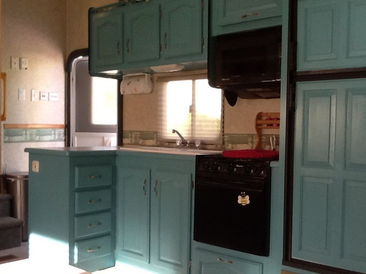 17 best images about mallard rv remodel on pinterest for Camper kitchen cabinets
