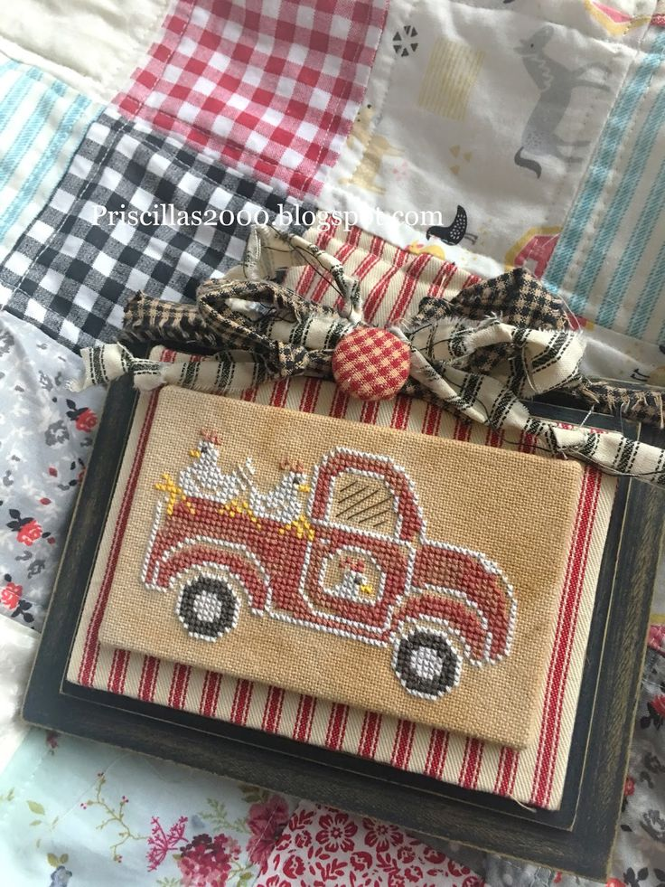 Good Morning! Can you stand the cuteness!?! This is the little truck from the Fresh Eggs Farm Chart ! The chalkboard to cross stitch c...