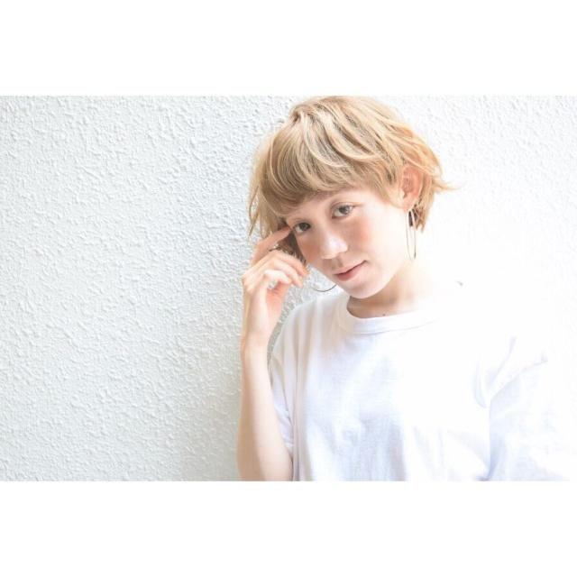 ショートヘアスタイル 無造作 ゴールドピン ラフ マッシュ 簡単スタイリング 好感度 モテ カラー mod's hair nakameguro
